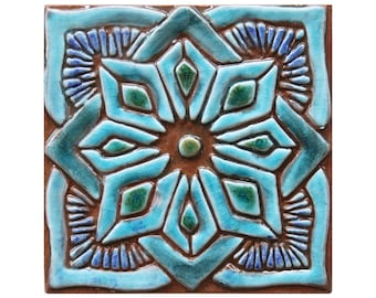 Morocco tile, hand paint tile, ceramic tile, Decorative tile, Moroccan #1, 15cm, square, Turquoise
