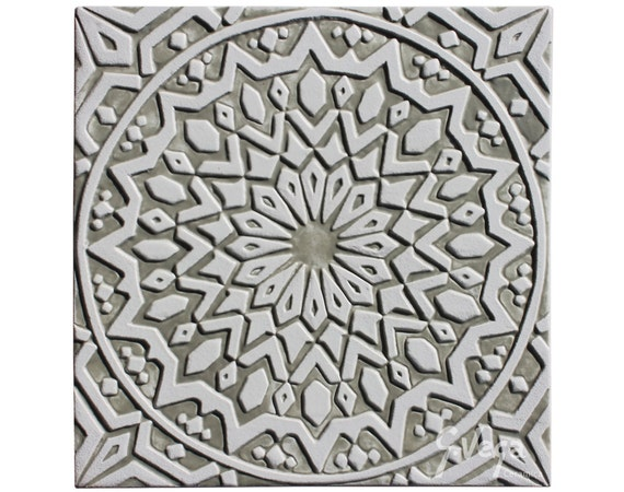Moroccan Wall Hanging Glazed In White And Beige Moroccan Tile Garden Art Moroccan Wall Art Moroccan 2 White 30cm