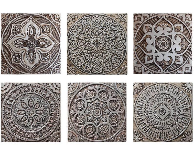 Piastrelle in ceramica 6 etnici hangings della parete etsy