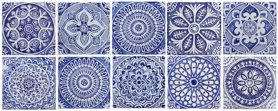 10 Carreaux En Ceramique Carrelage Bleu Et Blanc Pour L Art Exterieur De Mur Ou L Installation D Art De Grand Mur Art De Mur En Ceramique Tuiles