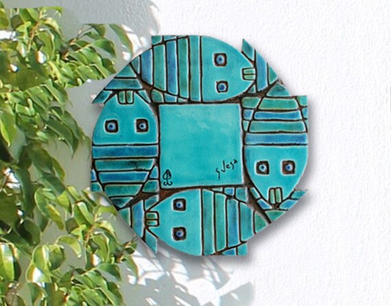 Pesci astratti arte della parete mattonelle di ceramica con etsy