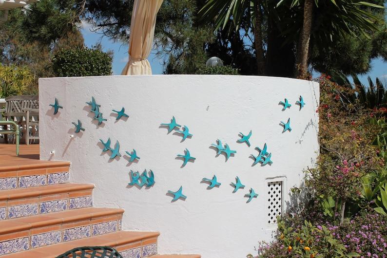 abstract birds garden decor glazed in turquoise cranes outdoor decor garden art birds 10 Flying birds outdoor wall art made from ceramic