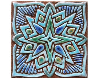 Moroccan ceramic wall art, hand painted tile, Decorative tile, ceramic tile, Morocco tile, #2, 15cm, square, Turquoise