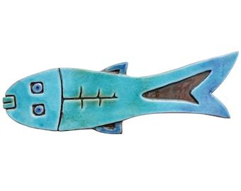 Ceramic fish art // Fish wall art // Fish wall hangings // Ceramic art // Fish ornament // Ceramic fish #3 // Turquoise