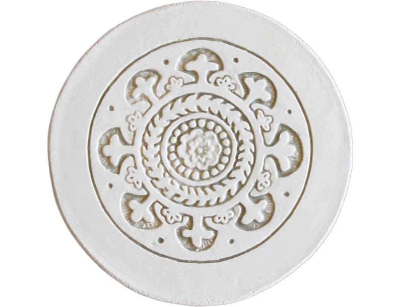 beige and white Wall tile Hand painted tile Suzani21cm with plain border Ceramic art with suzani carving,ceramic tile,Circle art