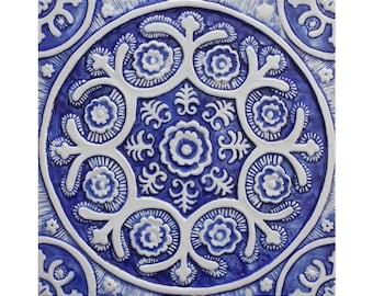 Ceramic tile with Suzani design, Decorative tile glazed blue and white, Ceramic wall art, Outdoor wall art, Garden art, Suzani #1 30cm