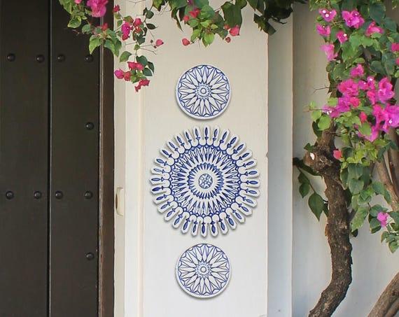 Arredamento marocchino arte della parete esterna blu e etsy