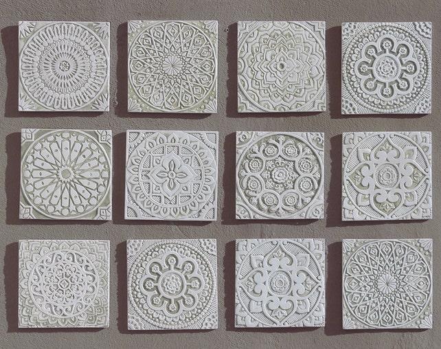 White outdoor wall art ceramic tiles for terrace walls Garden | Etsy