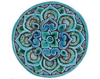 Mandala-Wandgestaltung, hergestellt aus Keramik - außen Wand Kunst - keramischen Fliese - Mandala 21cm - Türkis