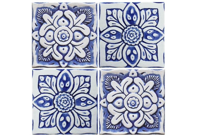 Garden Decor With Suzani Design Set Of 4 Tiles Ceramic Wall Art Garden Decor Decorative Tile Outdoor Wall Art 15cm Blue And White