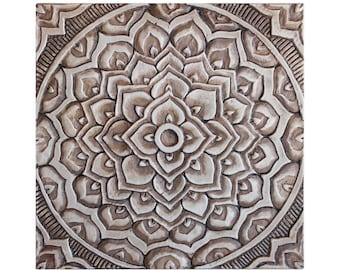 Garten Dekor / / Garten Kunst / / keramische Fliesen / / Outdoor Wandkunst / / Kunst Yard / / dekorative Wand Fliesen / / Mandala #2 / / 30x30cm / / Antik Silber