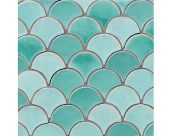 Moroccan fish scale tiles, Scallop tiles, Moroccan tiles, Hand painted tiles, Field tiles, ceramic tiles, 1 m2 10x9cm custom colour tiles