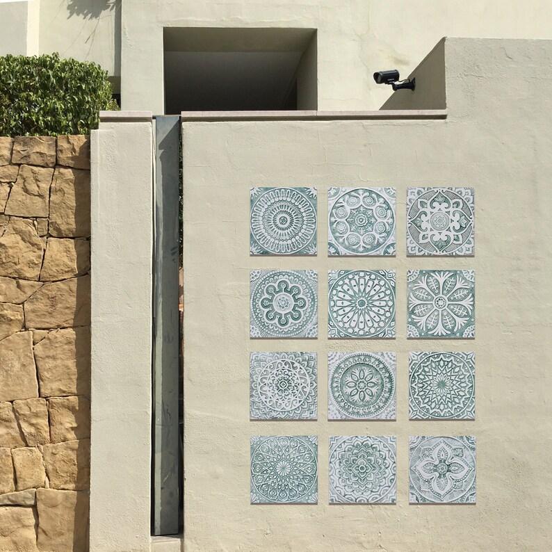 Outdoor Decor Set Of 12 Tiles Garden Decor Outdoor Wall Art Garden Art Ceramic Tiles Yard Art Decorative Wall Tiles 30cm Aqua