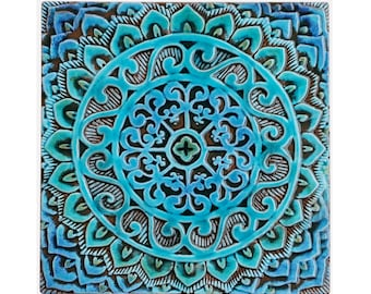 Mandala Wandbehang hergestellt aus Keramik, Outdoor-Wand-Kunst, Mandala-Kunst, Mandala Wandbehang, Gartendekor, Keramik Fliesen, mandala1, Türkis