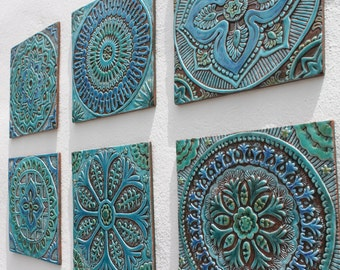 Set of 6 Ceramic tiles, Bathroom tiles, Decorative tiles, Outdoor wall art, Ceramic tiles, Kitchen tiles, Wall sculpture, Turquoise 30cm
