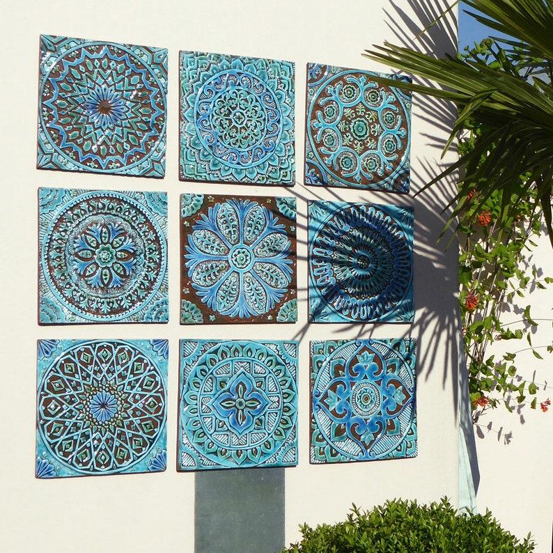 Outdoor Wall Art Garden Decor Set Of 9 Ceramic Garden Art Ceramic Wall Art For Garden Ceramic Tiles Garden Art Turquoise 30cm