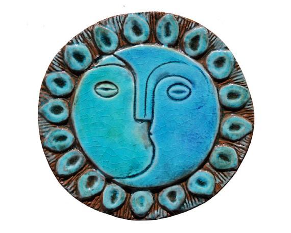 Sole e luna parete arte fatta da piastrelle di ceramica muro etsy