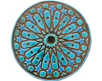 Garten Dekor / / keramische Fliesen / / Outdoor Wandkunst / / Kunst Yard / / dekorative Wand Fliesen / / Kreis Kunst / / marokkanischen #5 / / 30cm / / Türkis