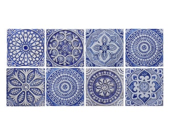 garden decor with blue and white ethnic patterns, SET OF 8 TILES, Outdoor wall art, Spanish tiles, Moroccan tiles, Ceramic tiles, 30cm