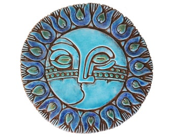 sun and moon ceramic wall art, garden decor with sun and moon design, outdoor wall art, decorative tile - 30cm - sun and moon art #6