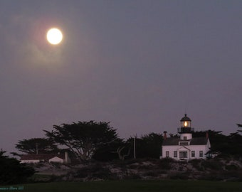 Lighthouse with the Moon  8x10 Photograph Print