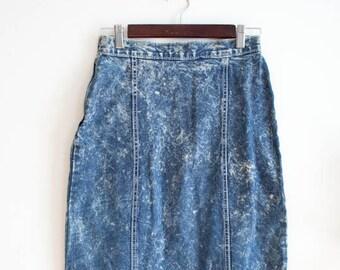 Acid Wash Vintage 80s Denim Skirt with Leather Fringe Small