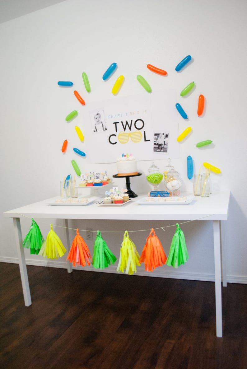 Two Cool Second 2nd Birthday Printable Party Decorations image 0