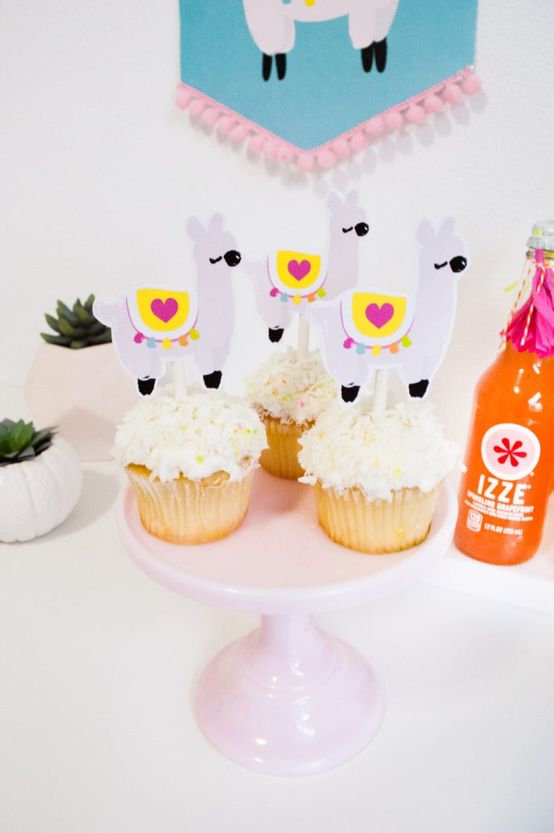 Llama Love Printable Cupcake Toppers for Llama Party by Itsy image 0
