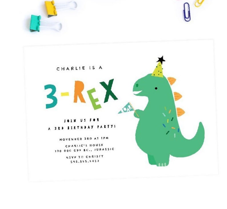 3 Rex 3rd Birthday Party Invitation PRINTABLE