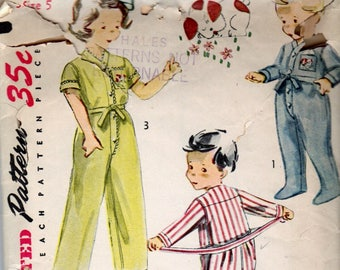 """1950s Child's One Piece Pajamas With Drop Seat & Tie Waist Long Or Short Sleeves Simplicity 4130 Size 5 Chest 23 1/2"""" Vintage Sewing Pattern"""