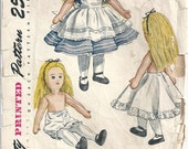 """1950s Alice In Wonderland Stuffed Cloth Doll Bloomers Slip Dress And Apron 18-19"""" Tall Simplicity 2240 Vintage Sewing Pattern"""