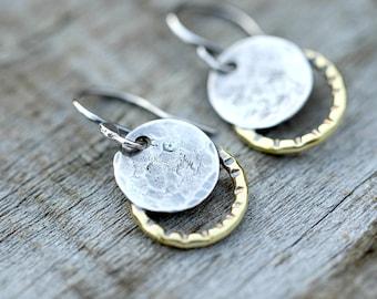 Small solar eclipse earrings,  moon earrings, solar eclipse jewelry, petite earrings, 2017 solar eclipse, total eclipse, silver earrings