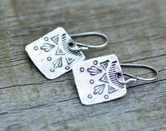 SILVER EARRING purple bead stamped silver disk charm earring boho dangle gift under 25