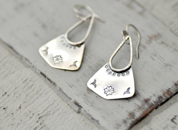 Floral stamped silver earrings boho earrings gift for her  acef673e0dd85