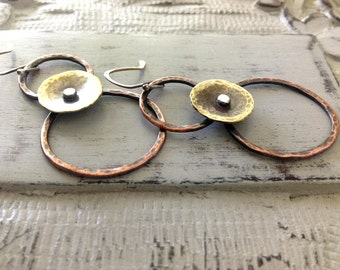 Mixed metal earrings, copper and brass circles, rustic jewelry, hammered metal earrings