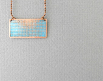 Turquoise statement necklace, copper necklace,  textured circle design, handmade jewelry, etched metal necklace