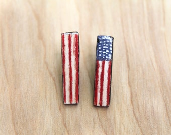 Hand Painted American Flag Earrings