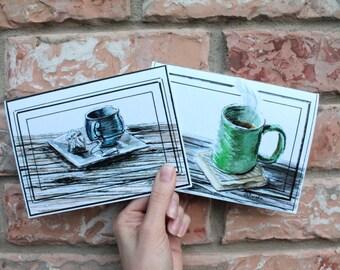 Card Set for Him: Tea & Coffee     prints of original watercolor paintings