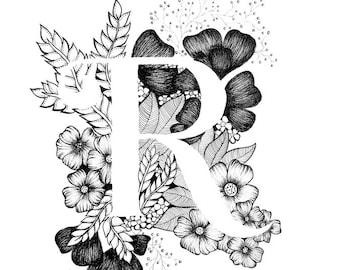 Letter G Print Alphabet Calligraphy Typography Monogram Etsy