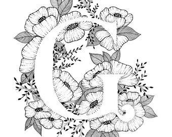 Letter R Print Alphabet Calligraphy Typography Monogram Etsy