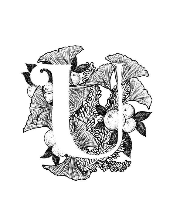 Letter U Print Alphabet Calligraphy Typography Monogram Etsy