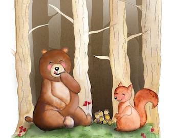 Love Is Sharing - Love Is Universal - Valentine's - watercolor, animal, kids room - art print