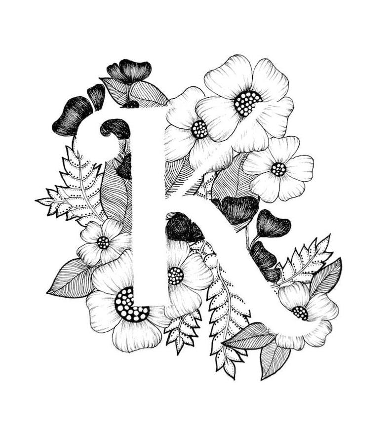 Letter K print Alphabet Calligraphy Typography Monogram | Etsy