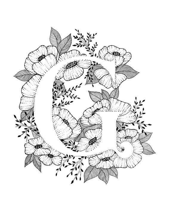 Letter G Print Alphabet Calligraphy Typography Monogram