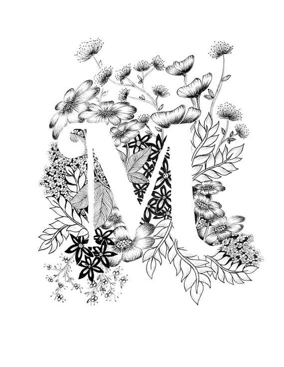 l flower coloring pages | Lettre M print Alphabet calligraphie typographie | Etsy
