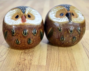 Mid Century Style Ceramic Owl Salt and Pepper Shakers