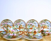 Midcentury Japanese Teacup and Saucer Set of Six Nippon Wares Takito Company TT Noritake 1940s Vintage Fine Porcelain China