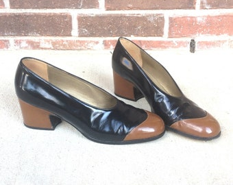 vintage 70s YVES SAINT LAURENT Two Tone Heels 9 patent leather pumps black toffee brown shoes Italian ysl