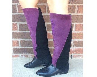 vtg 80s purple, black TWO TONE suede leather Tall BOOTS flat 8/8.5 knee high tall shoes unique avant garde embroidered boho