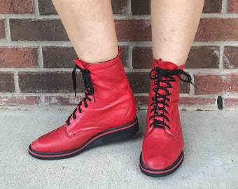 vintage 80s Cherry Red SPORTY lace up ROPER BOOTS 7 womens grunge boots cowboy boots leather winter boots 80s boots western rockabilly boho